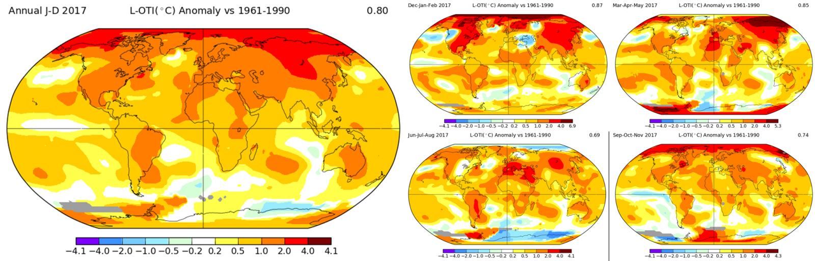 4c90af27f ... odchýlka globálnej teploty za zimu 2016/17 (v strede hore), jar (vpravo  hore), leto (v strede dole) a jeseň 2017 (vpravo dole) [Zdroj: GISS NASA]
