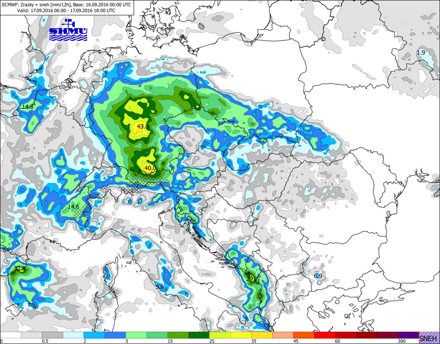 1d2ebcaf0 Obr. 3b: Predpoveď úhrnu zrážok v sobotu 17.9. od 8:00 do 20:00 LSEČ v  období od 8:00 do 20:00 LSEČ podľa modelu ECMWF.