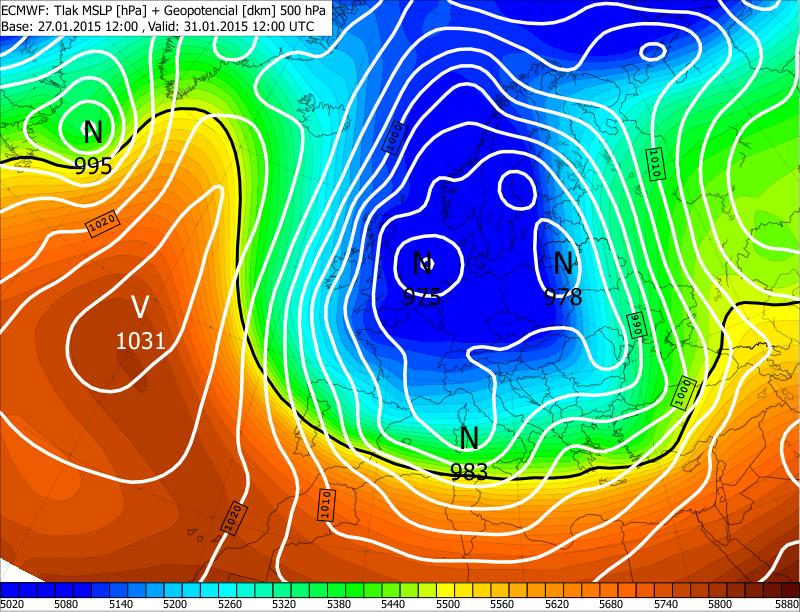 60bc8f3ca Obr. 1 - Predpoveď prízemného tlakového poľa (biele izočiary) a  geopotenciálu hladiny 500 hPa (farebná škála), ktorá reprezentuje vyššie  vrstvy troposféry; ...